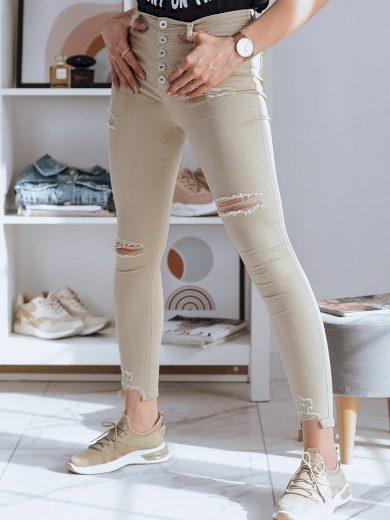 Roztrhané džíny s regular pásem na knoflíky