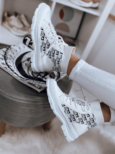 Dámské kotníkové tenisky s potiskemJANIA bílé Dstreet ZY0036