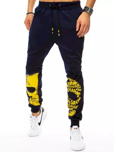 Pánské teplákové kalhoty s potiskem lebky a nápisy