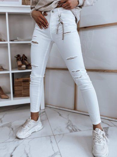 Dámské riflové kalhoty džíny VIVA bílé Dstreet