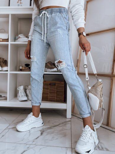 Kalhoty dámské jogger běžecké jeansowe TAINA modré Dstreet