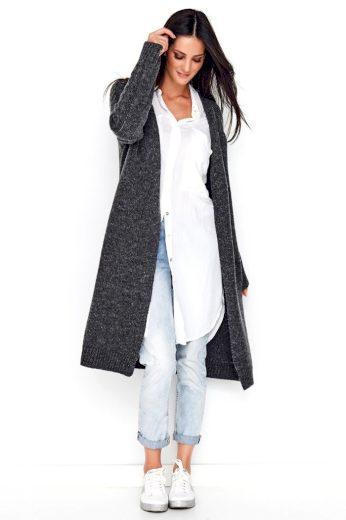 Pletený Svetr dlouhý kardigan - dlouhé rukávy s copem