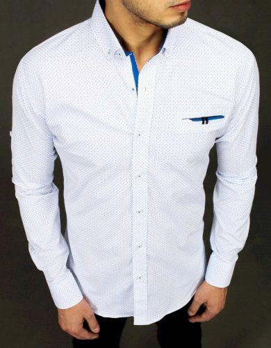 Pánská vzorovaná bílá košile s límcem a náprsní kapsou