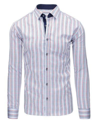 bílá Pánská košile v kostkovaném / károvaném vzoru s dlouhým rukávem