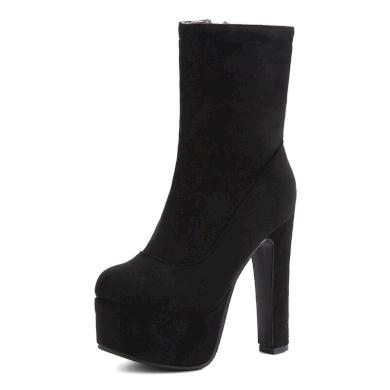 Semišové černé boty na podpatku s kulatou špičkou - 44