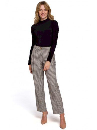Dámské kalhoty s potiskem Gingham MAKEOVER K076