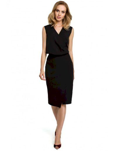 Pouzdrové šaty s překládaným výstřihem MOE M395