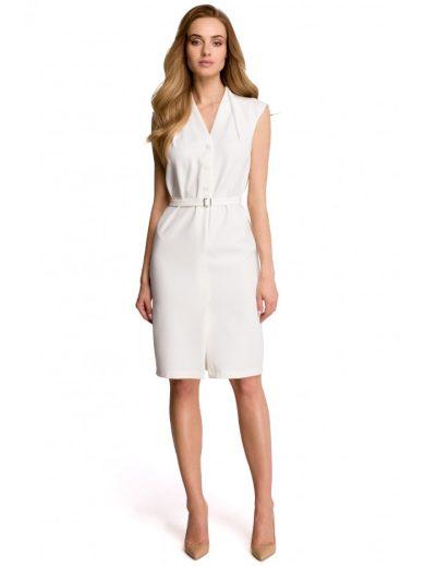 Košilové šaty bez rukávů s výstřihem STYLE S102