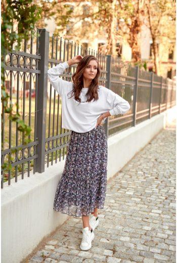 Vzdušná midi sukně s módním vzorem