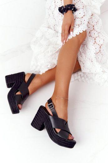 Sandály Na Podpatku S Copánky Big Star HH274387 Černé