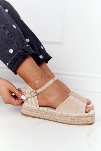 Sandály Na Platformě S Copánky Béžové Megara