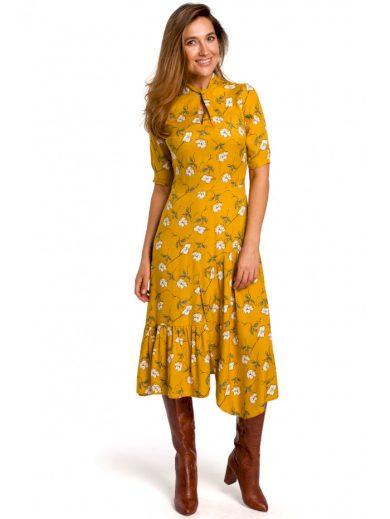 Midi šaty s květinovým potiskem STYLE S177