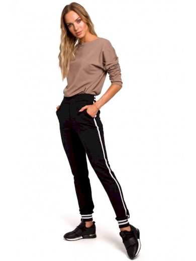 Jogger kalhoty s pruhovanými žebrovanými manžetami M460