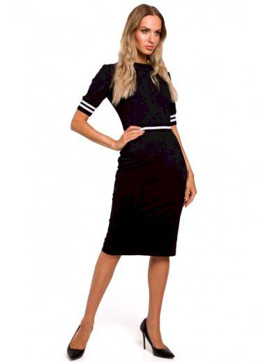 Pouzdrové šaty s pruhovanou žebrovanou úpravou M461