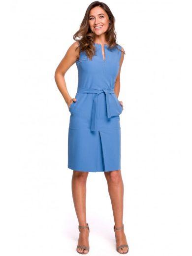 Pouzdrové šaty bez rukávů s předním plisováním S158