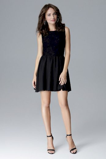 Klasické áčkové šaty s ozdobnou krajkou L024  LENITIF
