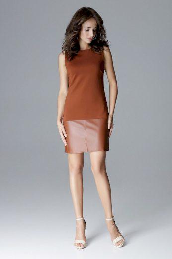 Pouzdrové šaty s koženkovou vložkou L025 LENITIF