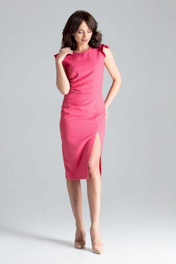 Midi šaty s rozparkem na noze L034  LENITIF