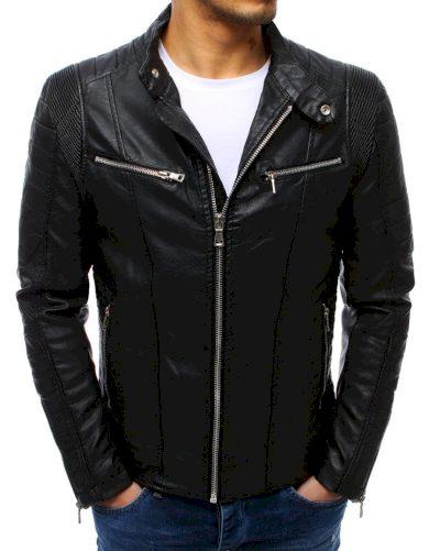 Pánská bunda kožená / koženková v černé barvě