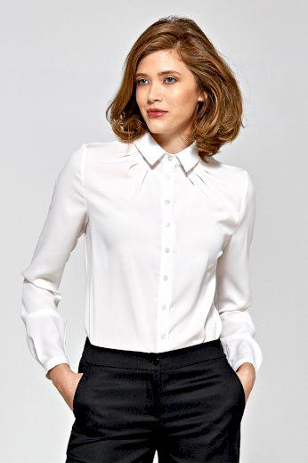 Bílá Košile s řasením se zapínáním na knoflíky a dlouhými rukávy
