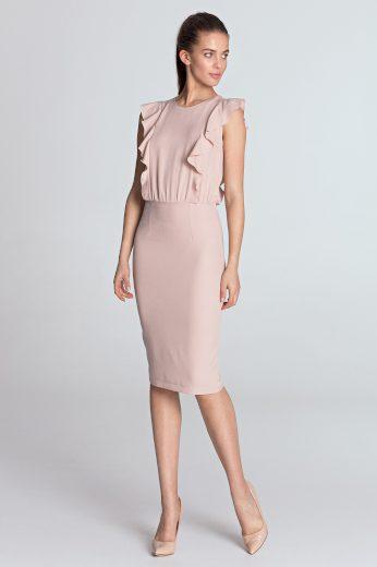 Světle růžové tužkové šaty s volánky NIFE S111