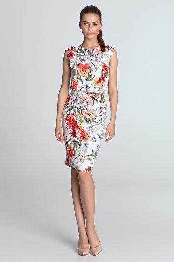 Květované pouzdrové šaty s kulatým výstřihem