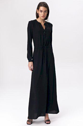Maxi černé šaty s dlouhými rukávy kulatým výstřihem a šnůrkou