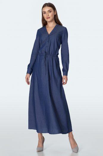 Maxi knoflíkové šaty džínové s dlouhými rukávy a výstřihem do V