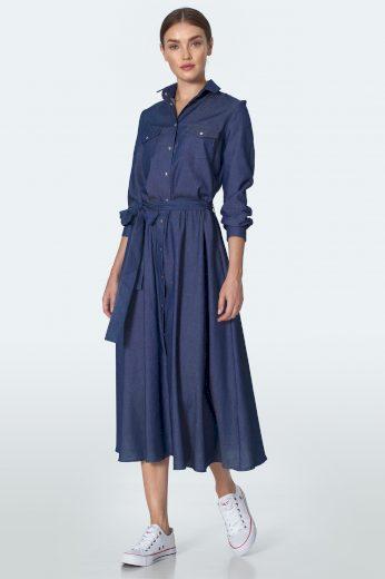 Džínové midi šaty ve stylu košile denim šaty s knoflíky
