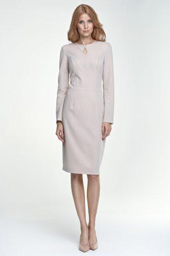 Elegantní pouzdrové šaty se slzou na výstřihu NIFE