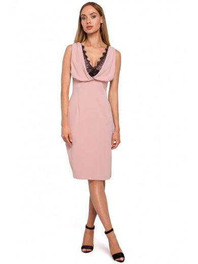 Pouzdrové šaty s krajkou ve výstřihu MOE M486