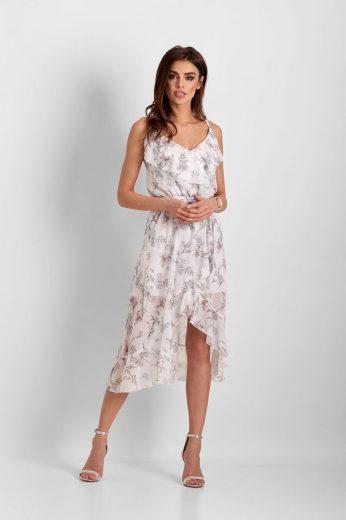 Šifonové šaty délky midi s volánky Chantal
