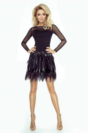 Carmen černé společenské šaty s peřím a flitry