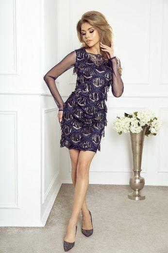 Selena mini společenské šaty s třásněmi a flitry IMESIA