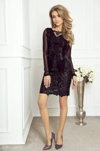 Vypasované černé krajkové šaty Elena IMESIA