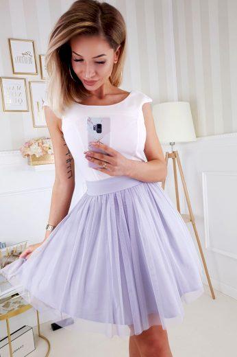 Koktejlové šaty na ramínka s tylovou sukní a mašlí vzadu - XS