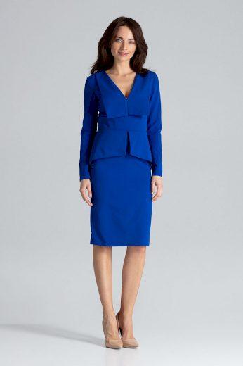 Pouzdrové šaty s volánem a hlubokým výstřihem  K491 LENITIF