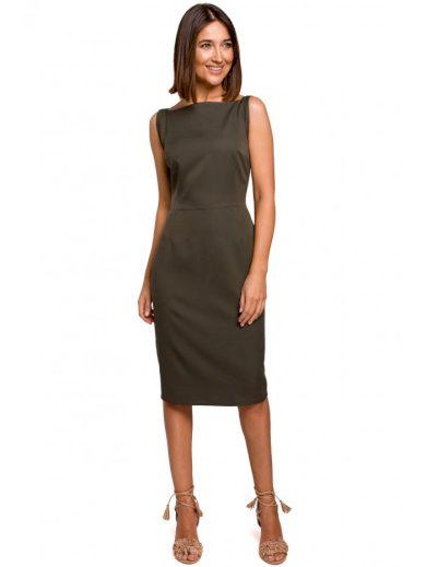 Tužkové šaty bez rukávů STYLE S216 - KHAKI 2XL