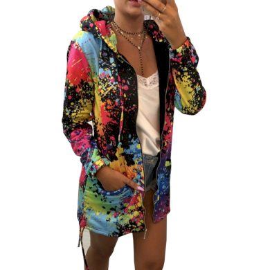 Dámská barevná mikina s kapucí FashionEU