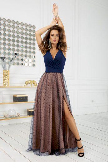 Společenské dlouhé šaty bez rukávů s krásnými puntíky