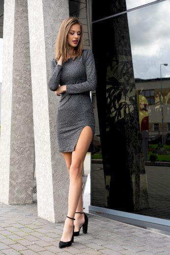 Pouzdrové šaty s rozparkem a dlouhým rukávem