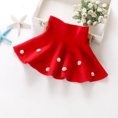 Dívčí sukně s vysokým pasem a perlovými květinami - 2 barvy FashionEU