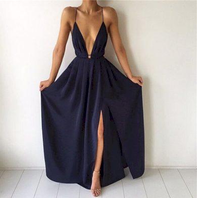Dámské večerní šaty s hlubokým výstřihem - 3 barvy FashionEU