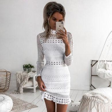Dámské mini večerní šaty - Bílé FashionEU