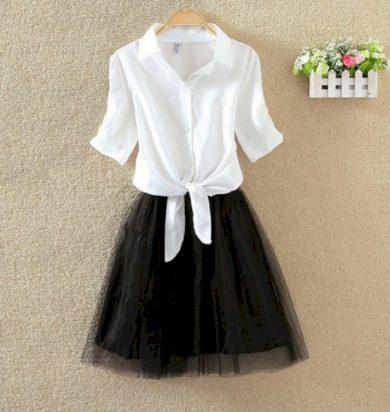 Dámské šaty s černou sukní a barevnou košilí - 4 barvy FashionEU