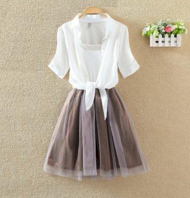 Dámské šaty s šedou sukní a barevnou košilí - 3 barvy FashionEU