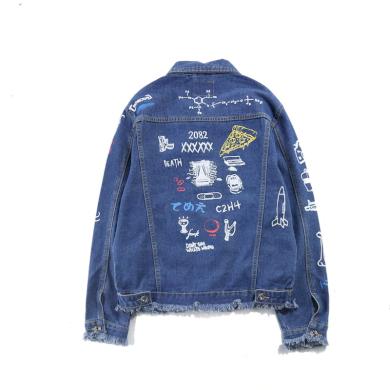 Pánská džínová bunda s potisky FashionEU