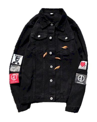 Pánská džínová bunda s potisky A1490 FashionEU