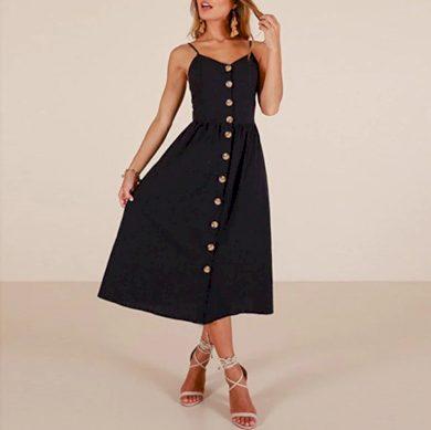 Jednobarevné dámské šaty na ramínka FashionEU
