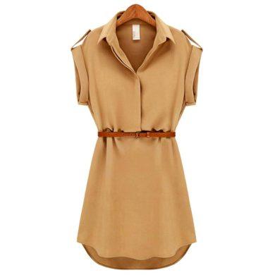 Dámské košilové šaty s páskem FashionEU